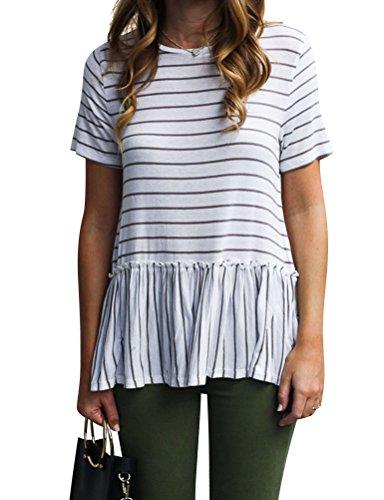 Cotton Short Sleeve Shirt Ruffle Striped - ZXZY Women Ruffle Hem Tshirt Round Neck Short Sleeve Stripe Blouse Peplum Tops Tee