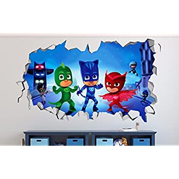 PJ Masks Smashed 3D Wall Decal Sticker Vinyl Decor Door Window Poster Mural Movie Games - Broken Wall - 3D Designs - R03 (Large (Wide 40