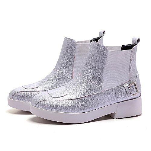 AllhqFashion Womens Low-Heels Soft Material Low-top Solid Pull-on Boots Silver 4Zl17bJNH