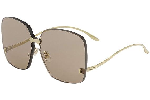 710ae210566cbc Gucci Lunettes de Soleil GG0352S GOLD BROWN femme  Amazon.fr ...
