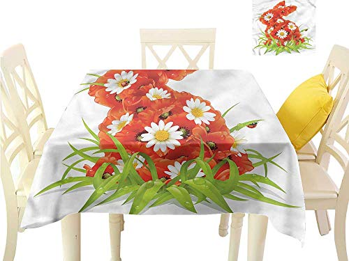 WilliamsDecor Kitchen Table Cover Ladybugs,Easter Rabbit Camomiles Kitchen Table Cover W 60