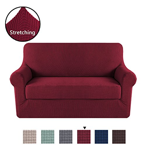H.VERSAILTEX High Stretch 2 Piece Furniture Protector Sofa Cover for Loveseat, Durable Spandex Stretch Fabric Super Soft Slipcover- Burgundy, 2 Seater Loveseat (Burgundy Slipcover)