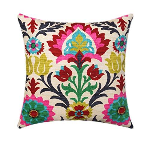 Maria Pillow Cover Throw Toss Pink Fuchsia Navy Blue Emerald Green Floral Pillow Lumbar Pillow Euro Sham Cushion ()