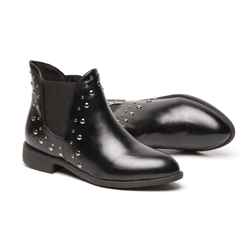 Amazon.com: Dacawin Vintage Women Casual Rivets Shoes Keep Warm Boot Leather Flat Ankle Boots Martin Boots: Sports & Outdoors