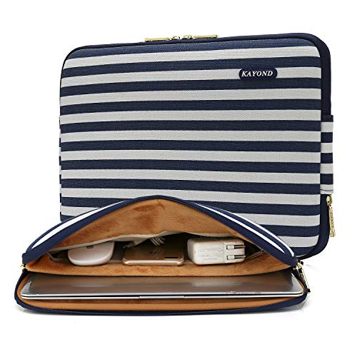 Kayond 15.6-17 Inch Laptop Sleeve Water-Resistant Canvas Case Bag Compatible with MacBook(17 inches, Breton Stripe)