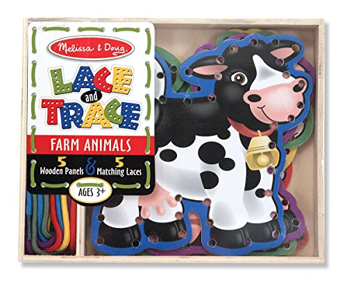 517IQE1pzXL - Melissa & Doug Lace and Trace Activity Set: 5 Wooden Panels and 5 Matching Laces - Farm