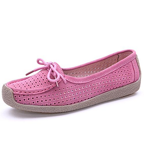 Lucksender Womens Nubuck Leather Hollow Out Flat Loafer Shoes Pink qH6D3R