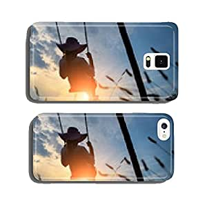 Woman playing on a swing at sunset cell phone cover case Samsung S5