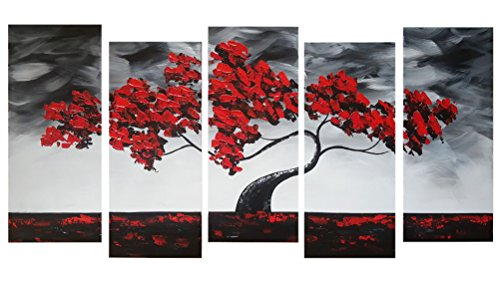 JOJOIL Art Hand Painted Abstract Wall Decor Painting of Red Tree 5 Piece Canvas Home Decor Art Ready to Hang