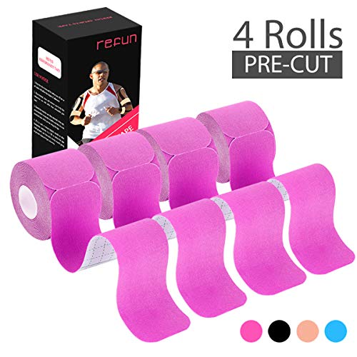 pe Precut (4 Rolls Pack), Elastic Therapeutic Sports Tape for Knee Shoulder and Elbow, Pain Relief, Waterproof, Latex Free, 2