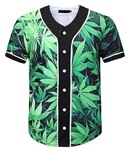 - PIZOFF Short Sleeve Arc Bottom 3D Green Leaf Print Baseball Jersey Shirt