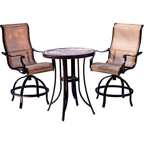Envelor Hanover Monaco 3 Piece Outdoor High Dining Set Weatherproof Garden Lawn Patio Furniture with Tile-Top Table and Swivel Gliding Chairs