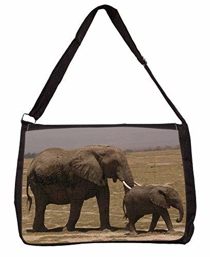 Elephant and Baby Tuskers Large 16 Black School Laptop Shoulder Bag SUQjD