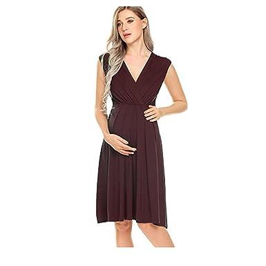 7b28f1336e3c3 Meharbour Womens Maternity Nightgowns Nursing Breastfeeding Elastic Waist V-Neck  Nursing Breastfeeding Dress