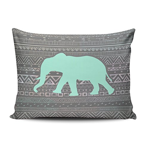 SALLEING Custom Pretty Cute New Mint Elephant Decorative Pillowcase Pillowslip Throw Pillow Case Cover Zippered One Side Printed 12x20 Inches
