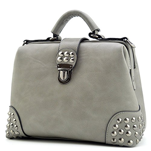(Mn&Sue Gothic Rivet Studded Vintage Doctor Style Cross Body Convertible Bucket Shoulder Handbag for Women (Gray))