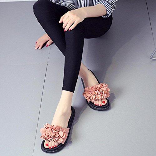 Omiky® Frauen Damen Fashion Einfarbig Wildleder Bogen Haspe Flache Ferse Karree Sandalen Rosa
