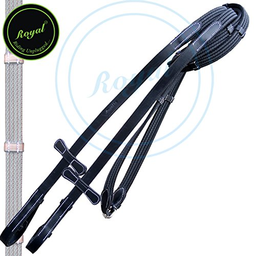 Runners Four Row Lined Rubber Web Reins with Seven Hand Stoppers & Martingale Stopper and Stainless Steel Buckles | English Horse Riding Equestrian Premium Tack | Black | ()