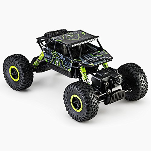 Green Racing Car (Remote Radio Control 4WD Off-Road Monster Crawler, Rock & Pebble Climber, with 2.4Ghz, Electric Fast Racing Hobby Car by Toydaloo (Green))
