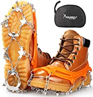 SYOURSELF Crampons Ice Cleats 24 Steel Spikes Snow Grips Ice Grippers Traction Anti-Slip Stainless Cleats for