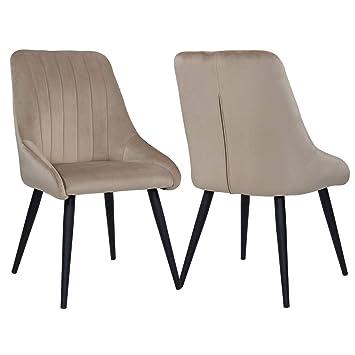Duhome 2er Set Esszimmerstuhl Aus Stoff Samt Beige Creme Stuhl Retro Design Polsterstuhl Mit Ruckenlehne Metallbeine Farbauswahl 8066