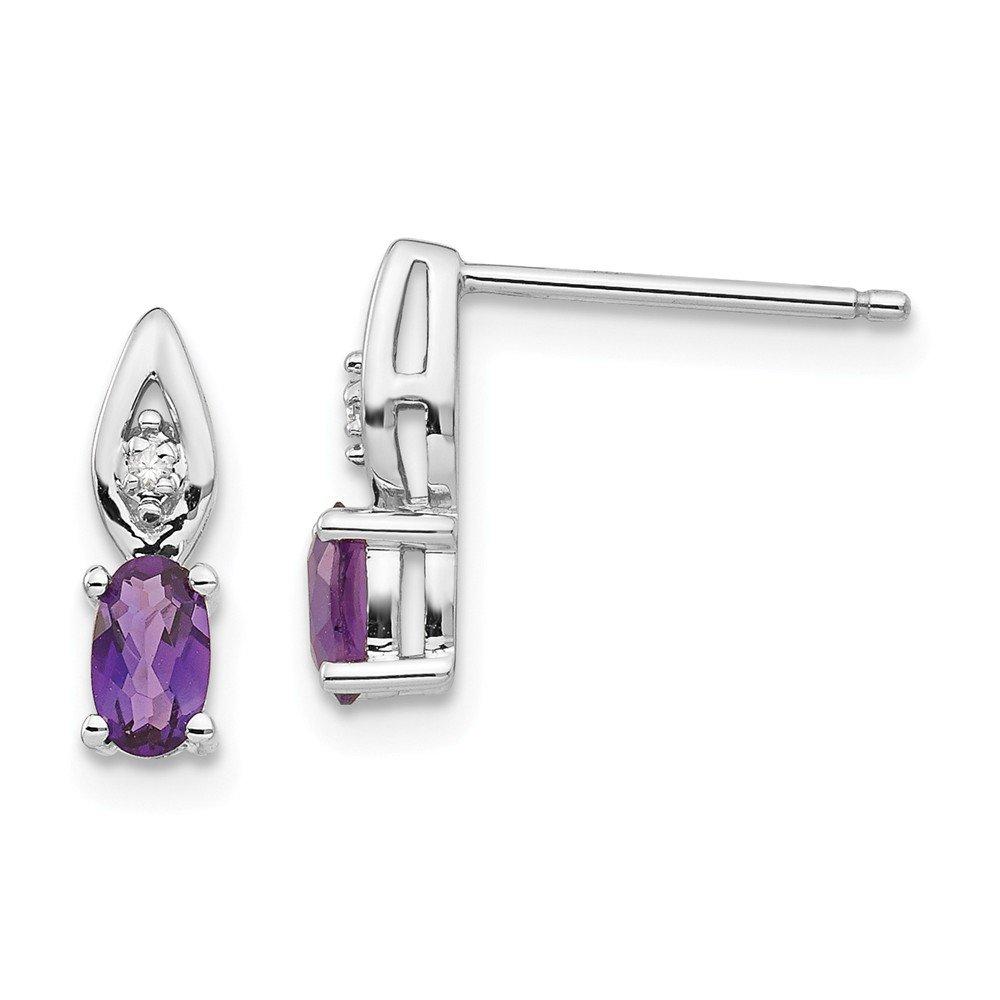 Real 14kt White Gold Amethyst Diamond Earring
