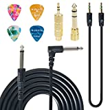 SUNYIN Electric Guitar Cable,10-Feet Straight to Right Angle for Instruments,Guitar Amp Cord with Gold Plated 3.5mm&6.5mm Stereo Adapter,Audio Cable(Black),4 Picks