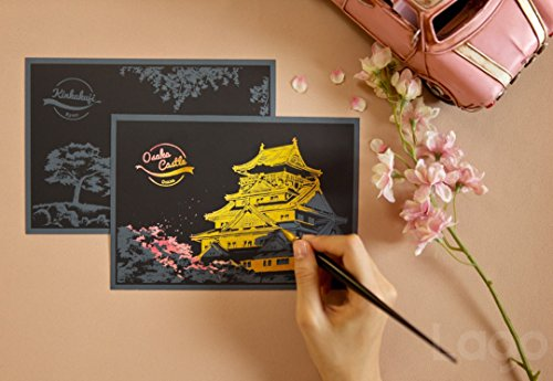 Lago Scratch Coloring Postcard Cherry Blossom / Set of 4 / 1 Scratch Stylus by Lago Design