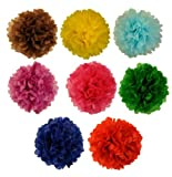 Tissue Pom Pom Paper Flower Ball 16inch 8 Assorted Color -Just Artifacts Brand