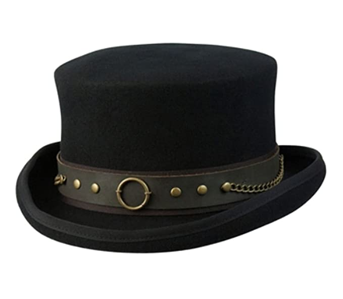 Steampunk Hats for Men | Top Hat, Bowler, Masks Cov-ver Hats Australian Wool Steam-Punk Top Hat With Brass Rings $78.00 AT vintagedancer.com
