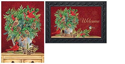 Briarwood Lane Holiday Arrangement Christmas Cardinal Greenery Garden Flag & Doormat Set (Christmas Doormats Frontgate)
