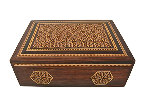 Handmade.Global Authentic Marquetry Sadeli Wood Inlay Premium Design Limited Edition Rectangular Jewellery Box 10 X 7 X 3 Inches