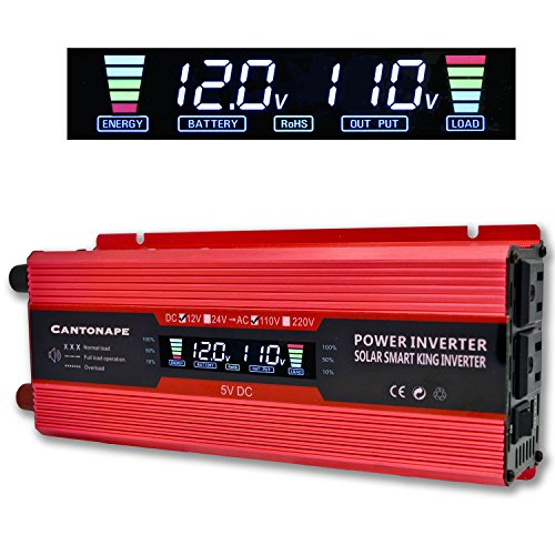 Cantonape 1000W/2000W(Peak) Car Power Inverter DC 12V to 110V AC Converter with LCD display Dual AC Outlets and 2A USB Car Charger for Car Home Laptop Truck