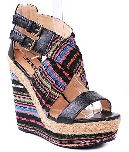 0f14bb64806 WIL-S Multi Color Faux Leather Canvas Strap Espadrille Platform High Wedge  Sandals