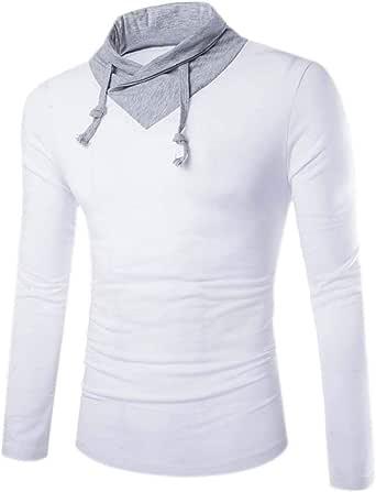 Camisas para Hombres Camisetas con Redondo Blusa Cuello Blusas Modernas Casual Largas De Verano Deporte Casual Hombres Nero Camiseta con Cuello Redondo Moda Slim Fit Splice Triángulo Cuello Top Otoño: Amazon.es: Ropa