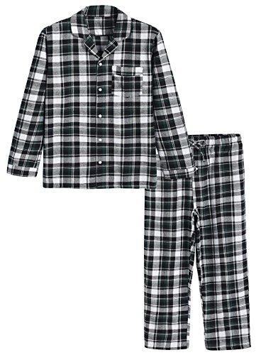 Flannel Loungewear (Latuza Men's Cotton Pajama Set Plaid Woven Sleepwear XL Black & Green)