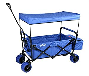 HLC Folding Utility Garden Beach Cart with Canopy