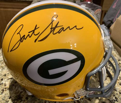 (BART STARR Autographed Signed On The Field Authentic Full Size Green Bay Packers Pro Helmet Mounted)