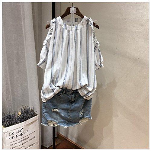 Xmy Bar rayé manches courtes T-shirt femme épaules dentelle de coton confortable couleur manquante épaule vêtements de poupée pour Summer of Code