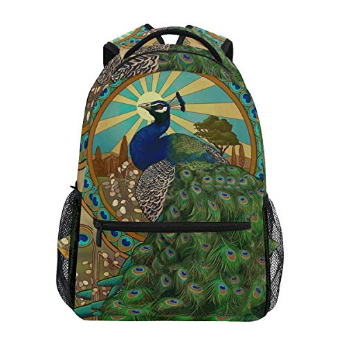 Art Nouveau Peacock Backpacks College School Book Bag Travel Hiking Camping Daypack