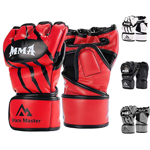 Brace Master Boxing Gloves MMA Gloves for UFC Training Men and Women Leather More Padding Punching Bag Gloves for The Kickboxing, Sparring, Muay Thai Heavy Bag (Small, Red)]()