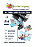 25 x A4 OHP Inkjet Acetate Film Sheets 135 micron Instant Dry