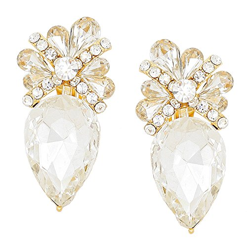 Vintage Clear Crystal & Rhinestone Clip Earrings Accented with Goldtones
