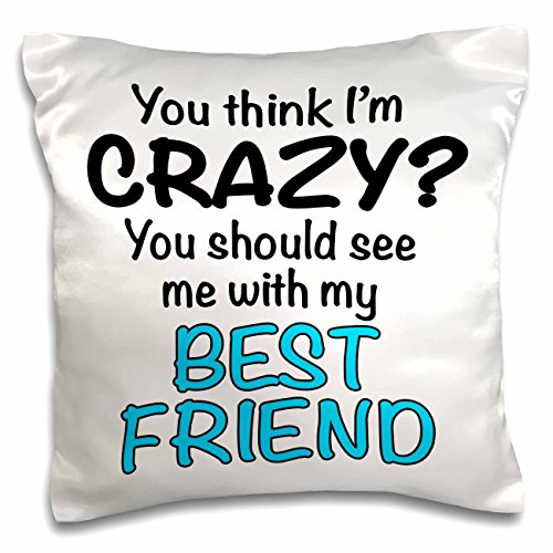3dRose pc_163922_1 You Think I'm Crazy You Should See Me with My Best Friend, Turquoise Pillow Case, 16