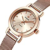 WWOOR Store Women's Watch Fashion Analog Quartz Watches with Stainless Steel Mesh Band Waterproof Wristwatch Casual Watch Ladies (Rose Gold & Pink & White & Gold)