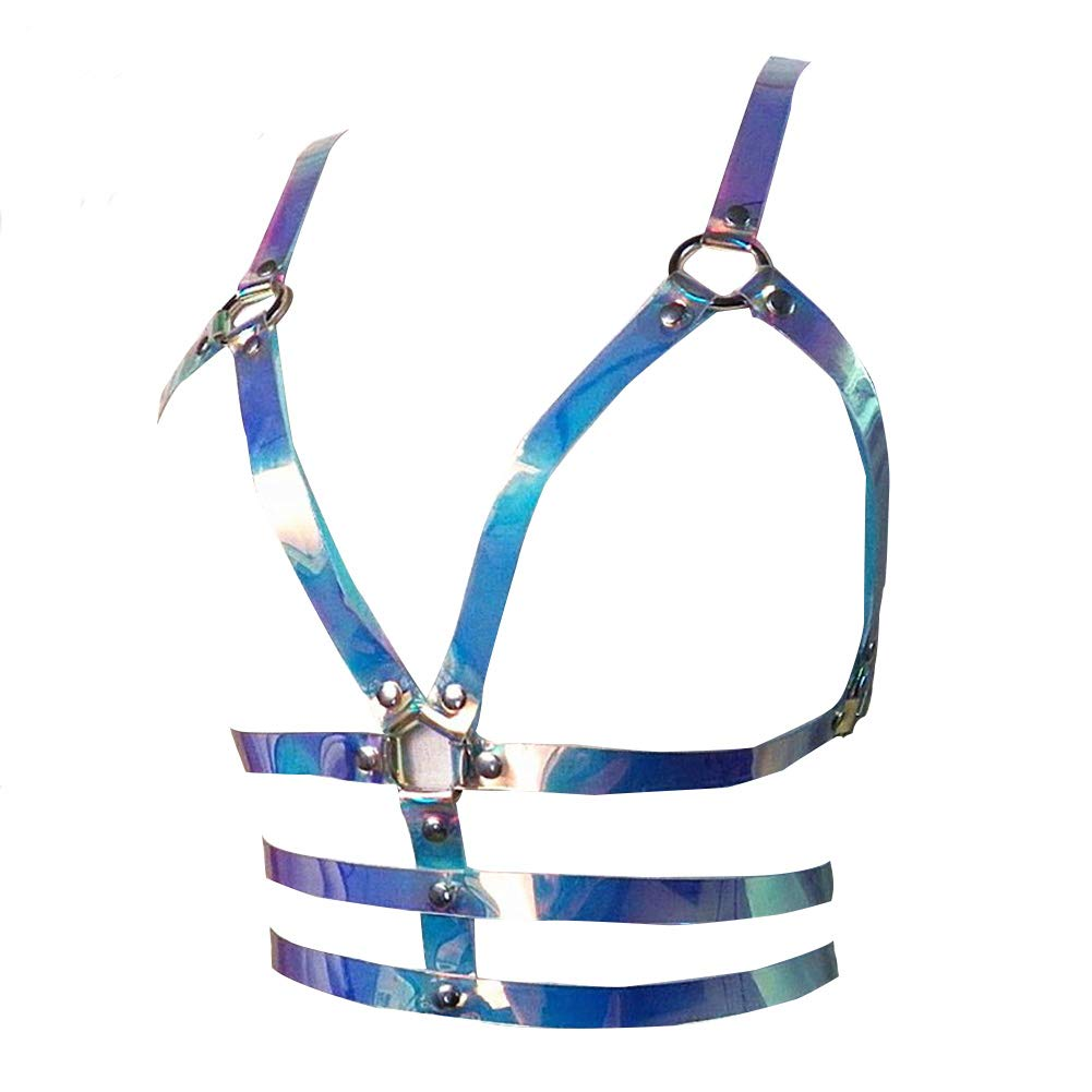 N08 Women's Punk Waist Belt Body Chain Faux Leather Harness Adjustable with Buckles and ORings