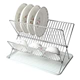 SortWise ® Chrome Folding Dish Rack, Home Kitchen Deluxe X Shaped 2-Tier Shelf Dish Drainers Storage Rack Holder with Drainboard