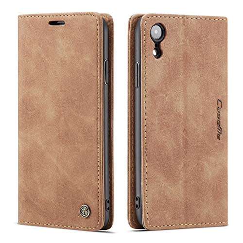 Case Cover iPhone XR 6.1inch Brown Kickstand Retro 2Card Slot(ID Card,Credit Card) Vintage Matte Leather Full Protection with Cash Slot Flip Shell,Accurate Cutouts Anti-Scratch Gift Girls Boys Unisex