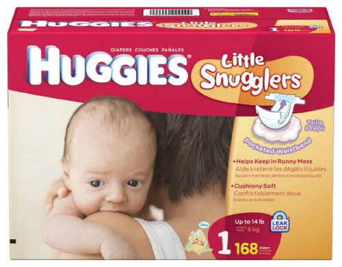 Huggies Little Snugglers Diapers, Size 1, 168-Count by HUGGIES