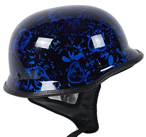 - Blue Skull German Motorcycle Helmet DOT (Large)